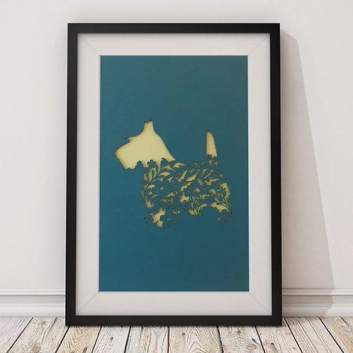 Scottie Dog Laser cut Print