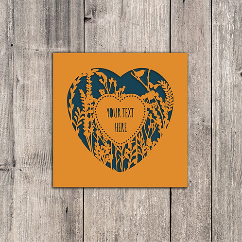 Custom Text Wildflower Heart Card