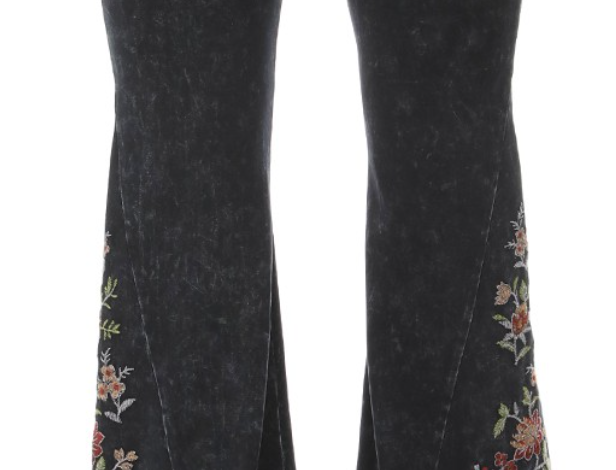 Floral Embroidered Flare