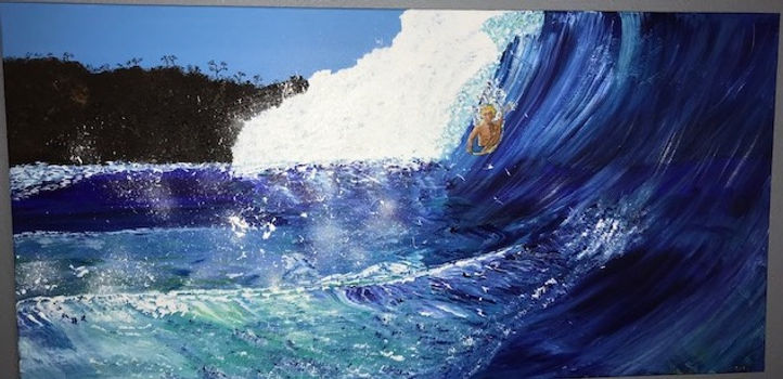 Painting man boogie boarding