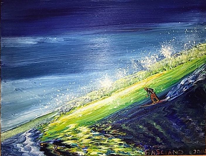 Painting surfing green wave