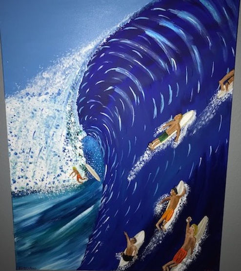 Painting of Big Swell Surfers