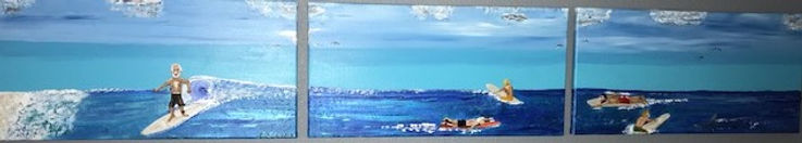 Painting surfing three frames