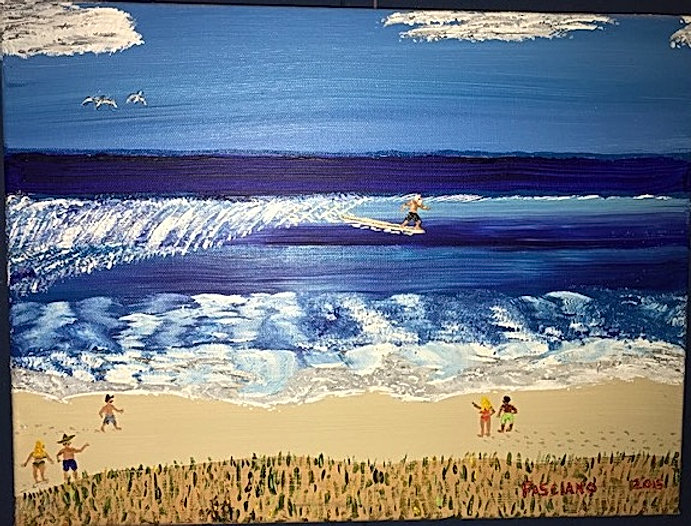 Painting man surfing blue sea