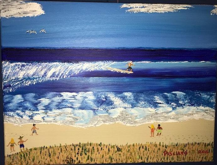 Painting man surfing blue sea