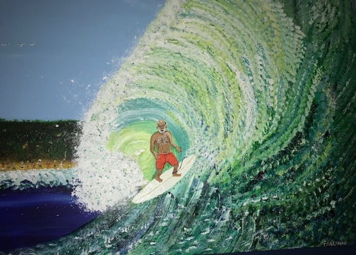 Painting of surfer in wave curl