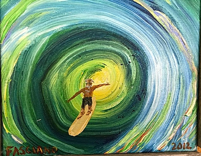 Panting of surfer in wave