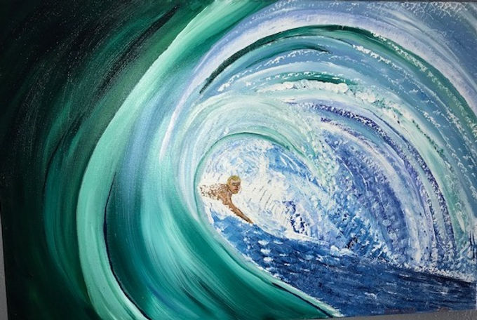 Painting of surfer inside wave