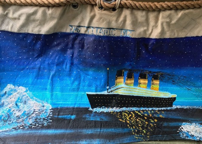 Painting of Titantic on sail