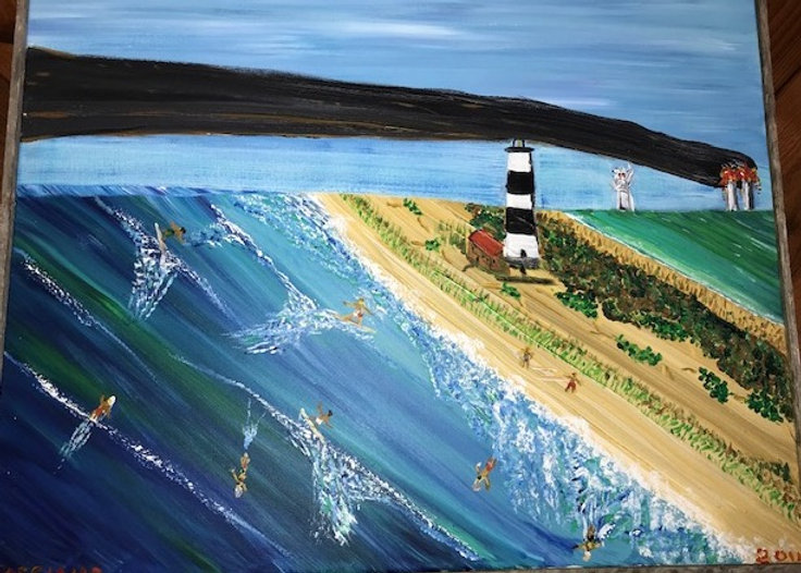 Painting of surfing on 9/11