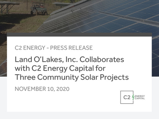 Land O'Lakes, Inc. Collaborates with C2 Energy Capital for Three Community Solar Projects