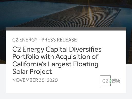 C2 Energy Diversifies Portfolio with Acquisition of California's Largest Floating Solar Project