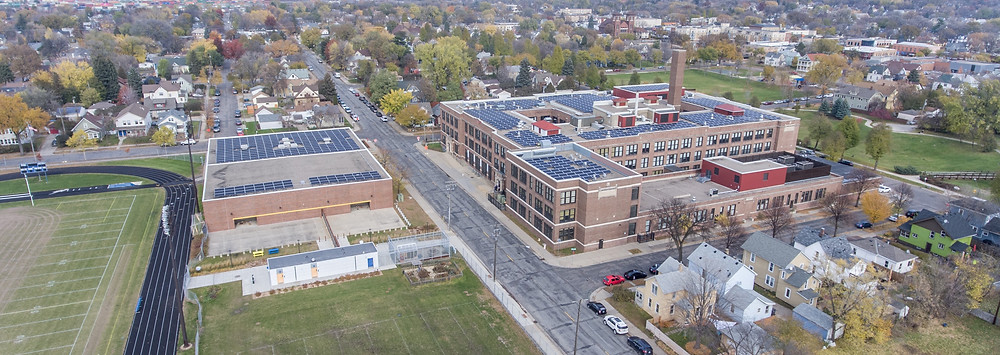 C2 Energy Capital's solar power generation system atop the Thomas Edison High School.