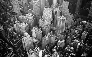 aerial-view-and-grayscale-photography-of