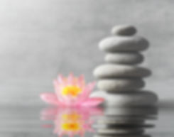 Stones and pink flower lotus balance. Ze