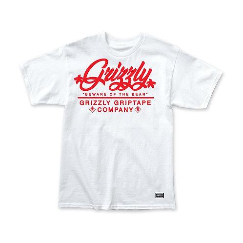 Grizzly Caution Script T-Shirt - White