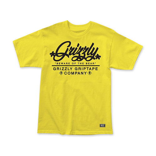 Grizzly Caution Script T-Shirt -Yellow