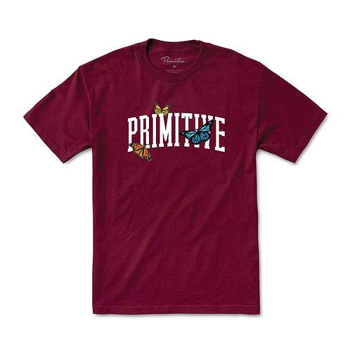 Primitive Collegiate Butterflies T-Shirt Maroon
