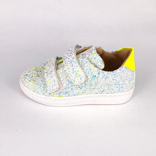 Jff - Sneaker mit Glitzer - weiß/neon