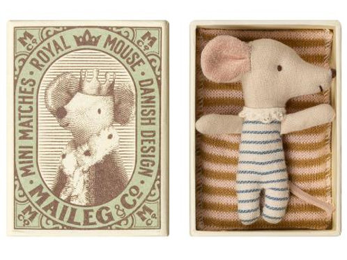 Maileg Sleepy/wakey Baby Mouse in Box - Junge