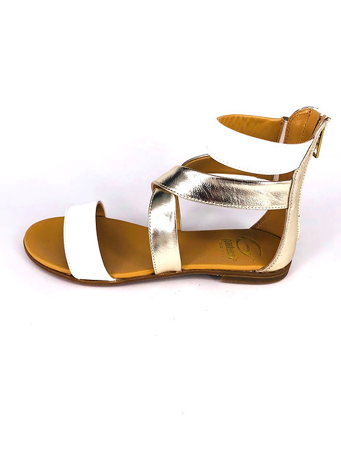Gallucci Sandale gold/weiß