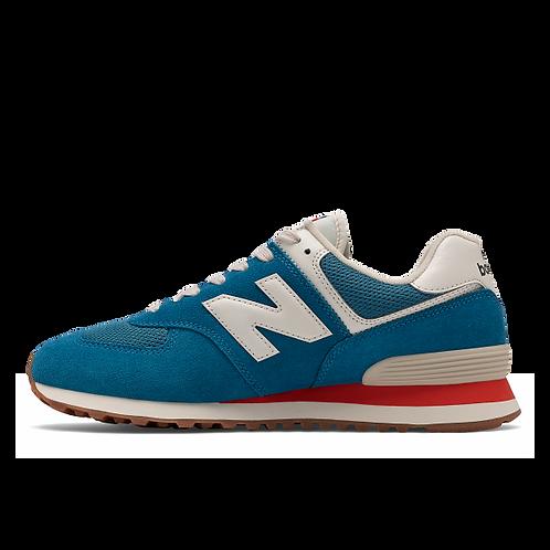 New Balance Sneaker 574 - blau/weiß/orange