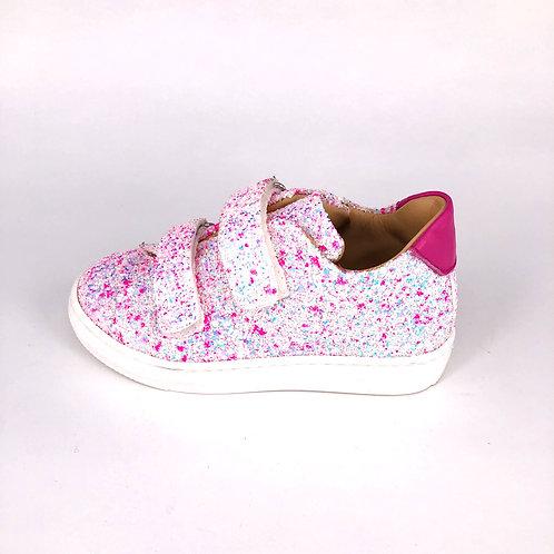 Jff - Sneaker mit Glitzer - weiß/pink