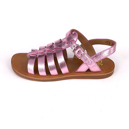 POM D'API - Sandale Plagette Strap metallic pink
