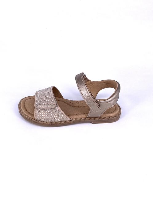 Clic! - Sandale mit aufgesetzten Gold-Pünktchen - beige/gold