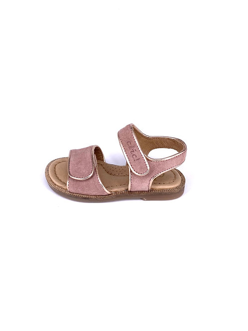 Clic! - Wildleder Sandale mit Goldrand - rosa