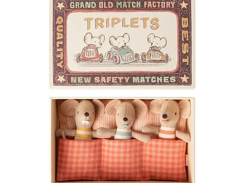 Maileg - Triplets in Matchbox (Baby Mouse)