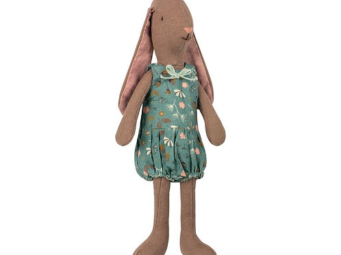 Maileg - Mini Brown Bunny petrol flower dress