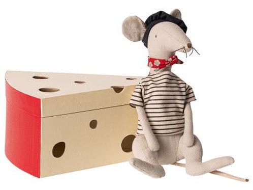 Maileg - Rat in Cheese Box light grey