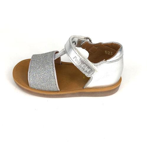 POM D'API - Sandale silber/Glitzer silber