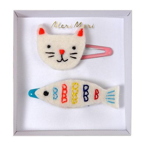 Meri Meri - Haarspange Katze und Fisch