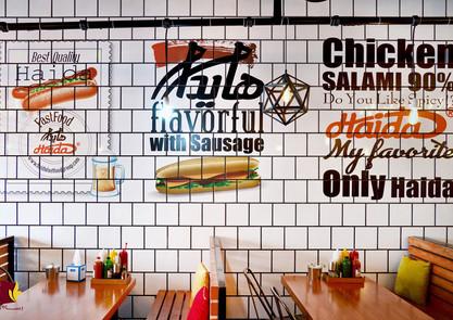 Tisk nabídky na kachlovou zeď bistra