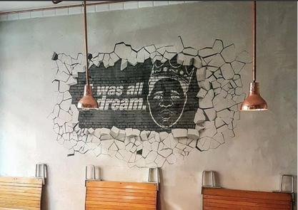 Tematická stěna restaurace