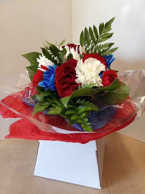 Red/Blue & White Box Bouquet