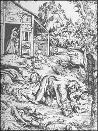 Le loup garou, gravure de Lucas Cranach le Vieux (1472-1553, Allemagne)