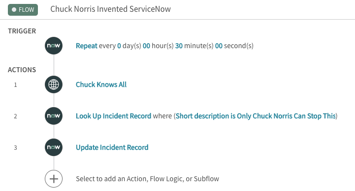 ServiceNow example workflow screenshot