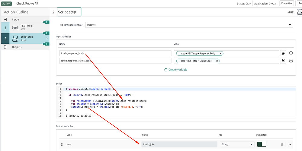ServiceNow custom action step 1 - example Script