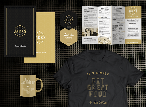 Jack's restaurant collateral including custom shirts, menus, coasters and mugs