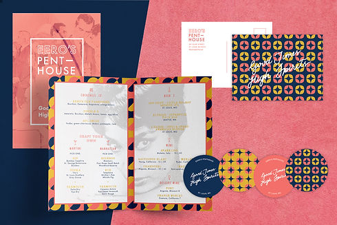 restaurant collateral including menus and coasters designed in blue yellow and pink