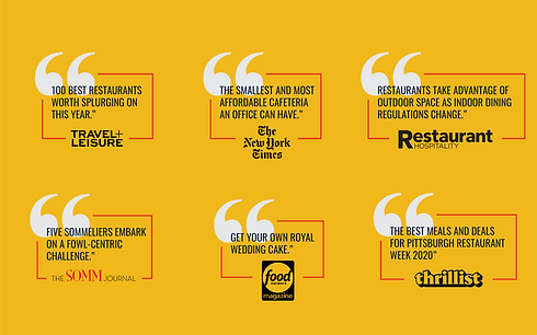 press quotes against a yellow background