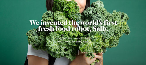 woman holding bunches of kale with the words, we invented the world's first fresh food robot, Sally
