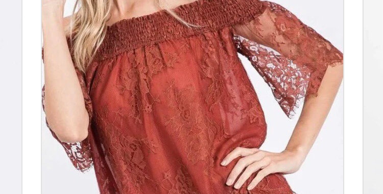Rust Lace Top