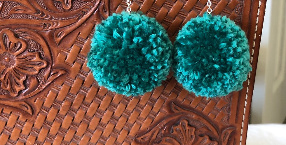 Turquoise Rain Drop Pom Pom Earings