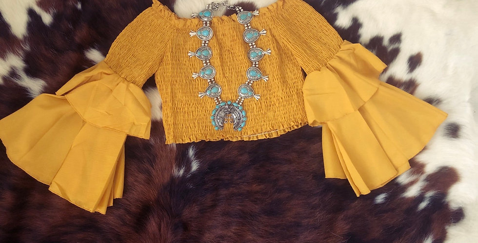 Mustard Bell Sleeve Crop Top