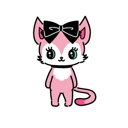 Mia(ミア)  メインボーカル  ピンク色の猫。  ツンととがった耳がチャームポイント。  キュートなハイトーンボイスの持ち主