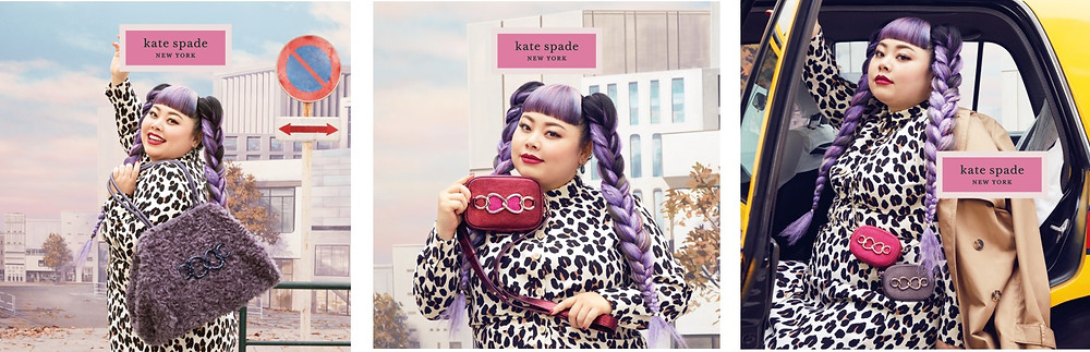 naomi watanabe x kate spade new york capsule collection: 左から:large tote in dark orchid ¥53,000 (H28 x W40 x D20cm), medium camera bag in deep umber ¥ 35,000 (H12 x W18 x D4cm), micro camera bag in pomegranate juice and dark orchid ¥15,000 (H8 x W11 x D4cm) *全て税抜き